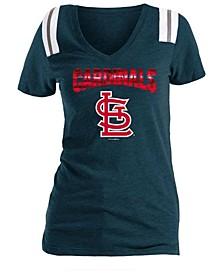 Women's St. Louis Cardinals Shoulder Stripe Foil T-Shirt