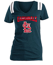 5th & Ocean Women's St. Louis Cardinals Shoulder Stripe Foil T-Shirt