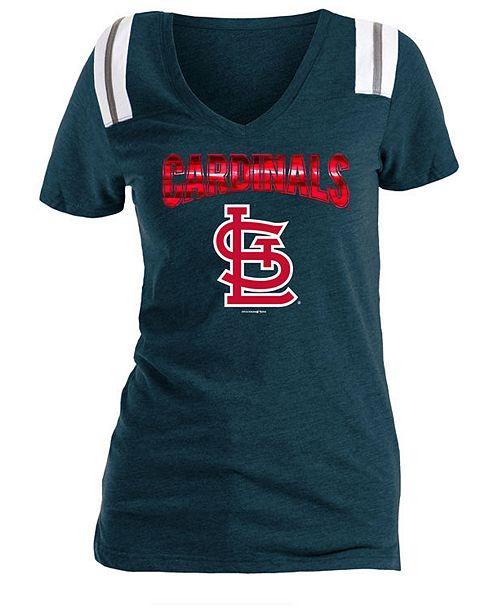5th & Ocean Women's St. Louis Cardinals Shoulder Stripe Foil T-Shirt