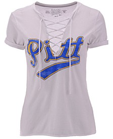 Women's Pittsburgh Panthers Lace Up V-Neck T-Shirt