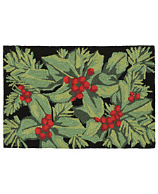 Liora Manne Front Porch Indoor/Outdoor Hollyberries Black 2' x 3' Area Rug