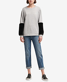 DKNY Faux-Fur Accent Sweatshirt