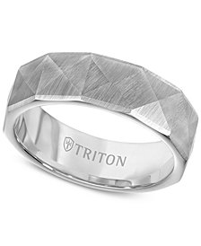 Triton Faceted Pyramid Wedding Band in White Tungsten