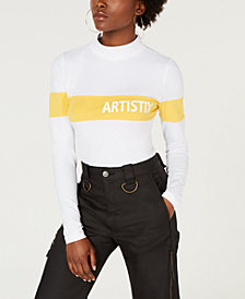 ARTISTIX Cotton Mock-Neck Graphic Bodysuit