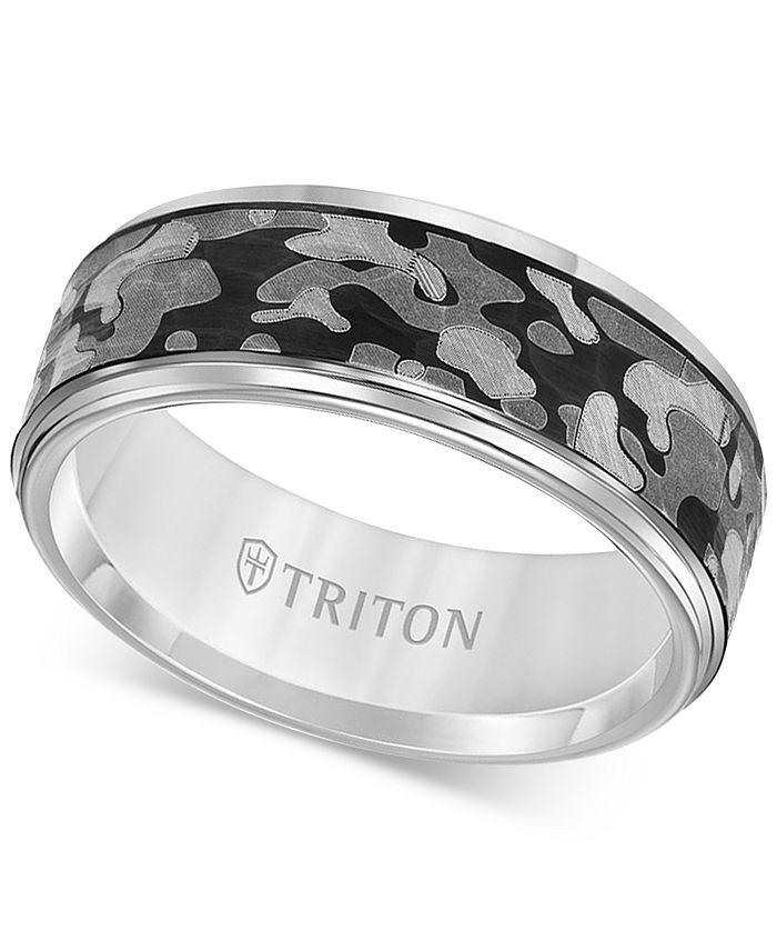 Triton - Laser-Engraved Camo Band in White or Black Tungsten Carbide