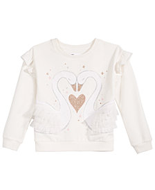 Epic Threads Little Girls Swan-Print Ruffled Sweatshirt, Created for Macy's