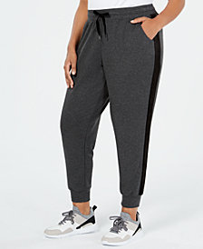 Ideology Plus Size Velour-Striped Joggers, Created for Macy's
