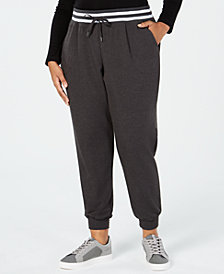 Ideology Plus Size Ribbed Varsity-Stripe Joggers, Created for Macy's