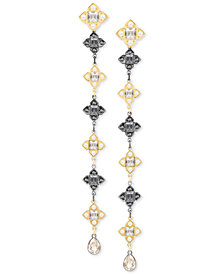 Swarovski Two-Tone Crystal & Imitation Pearl Linear Drop Earrings
