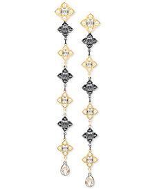 Swarovski Two-Tone Crystal & Imitation Pearl Linear Drop Earrings