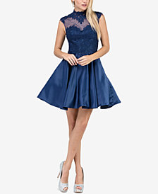 Dancing Queen Juniors' Lace-Appliqué Fit & Flare Dress