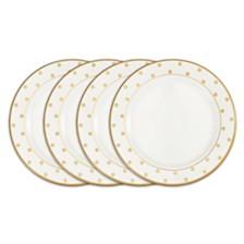 Q Squared Moonbeam Dots Gold Melamine 4-Pc. Dinner Plate Set