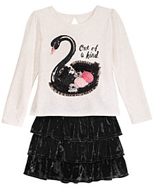 Epic Threads Little Girls Swan T-Shirt & Velvet Skirt, Created for Macy's