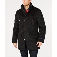 Tommy Hilfiger Mens Modern-Fit Pilot Charcoal Tic Overcoat