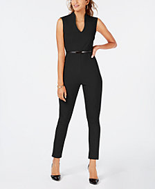 Almost Famous Juniors' Belted Jumpsuit