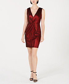 Calvin Klein Metallic Knotted Sheath Dress