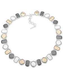 "Nine West Tri-Tone Pavé Collar Necklace, 16"" + 2"" extender"