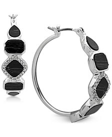 Nine West Silver-Tone Pavé & Stone Hoop Earrings