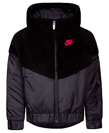 Nike Little Girls Faux-Sherpa Hooded Windrunner Jacket