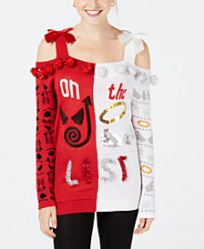 Planet Gold Juniors' Naughty Or Nice Cold-Shoulder Sweater