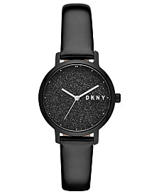 DKNY Women's Modernist Black Patent Leather Strap Watch 32mm, Created for Macy's