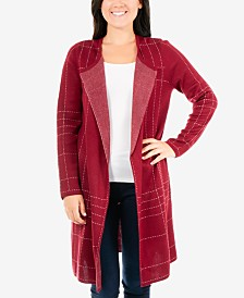 NY Collection Stitched Open-Front Cardigan