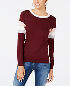 Hippie Rose Juniors' Crew-Neck Colorblocked Sweater