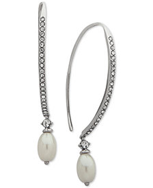 Jenny Packham Silver-Tone Imitation Pearl & Crystal Threader Earrings