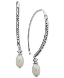 Jenny Packham Silver-Tone Imitation Pearl & Crystal Threader Earrings