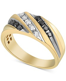 Men's Diamond Diagonal Ring (1/2 ct. t.w.) in 10k Gold