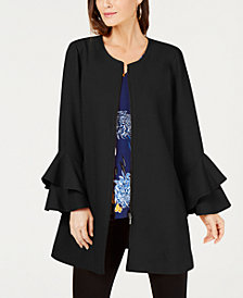 Alfani Flared-Sleeve Collarless Jacket, Created for Macy's