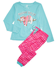 Max & Olivia Big Girls 2-Pc. Snow Daze Pajama Set, Created for Macy's