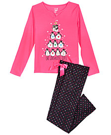 Max & Olivia Big Girls 2-Pc. Greatest Gift Pajama Set, Created for Macy's