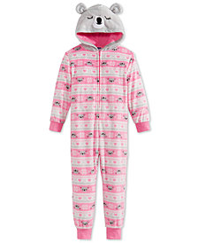 Max & Olivia Big Girls Fair Isle Bear Hooded Onesie, Created for Macy's