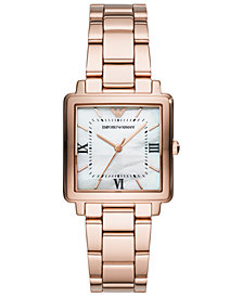 Emporio Armani Women's Rose Gold-Tone Stainless Steel Bracelet Watch 30x30mm