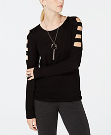 BCX Juniors' Lattice-Sleeve Attached-Necklace Top