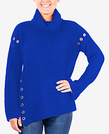 NY Collection Grommet-Detail Turtleneck Sweater