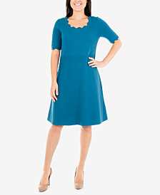 NY Collection Scalloped Fit & Flare Sweater Dress
