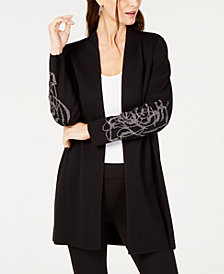 Alfani Petite Glitter-Embellished Cardigan, Created for Macy's
