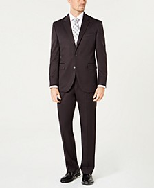 Men's Modern-Fit Stretch Gray Solid Suit