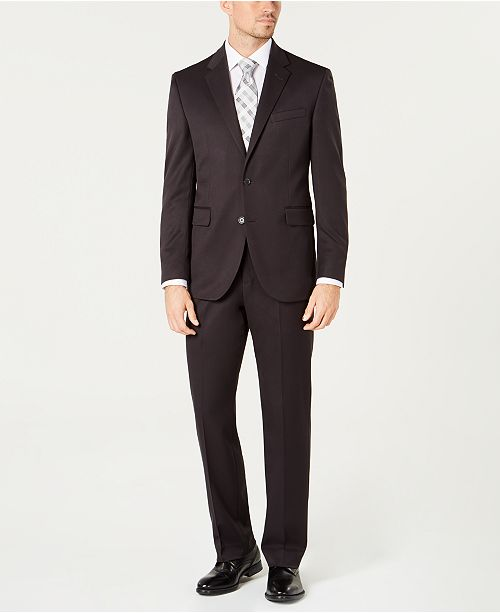 Dockers Men's Modern-Fit Stretch Gray Solid Suit