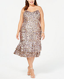 Adrianna Papell Plus Size Multicolored Sequin Midi Dress