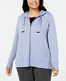 Ideology Plus Size Zip Hoodie, Created for Macy's