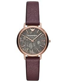 Women's Purple Leather Strap Watch 32mm