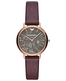 Emporio Armani Women's Purple Leather Strap Watch 32mm