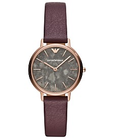 Emporio Armani Women's Purple Leather Strap Watch 32mm