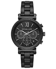 Michael Kors Women's Chronograph Sofie Black-Tone Stainless Steel Bracelet Watch 39mm