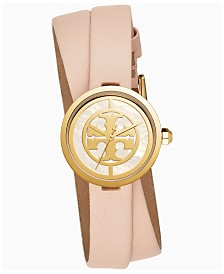 Tory Burch Women's Reva Nude Leather Double Wrap Strap Watch 28mm