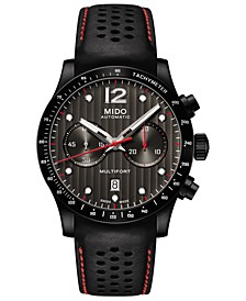 Men's Swiss Automatic Multifort Black Perforated Leather Strap Watch 44mm