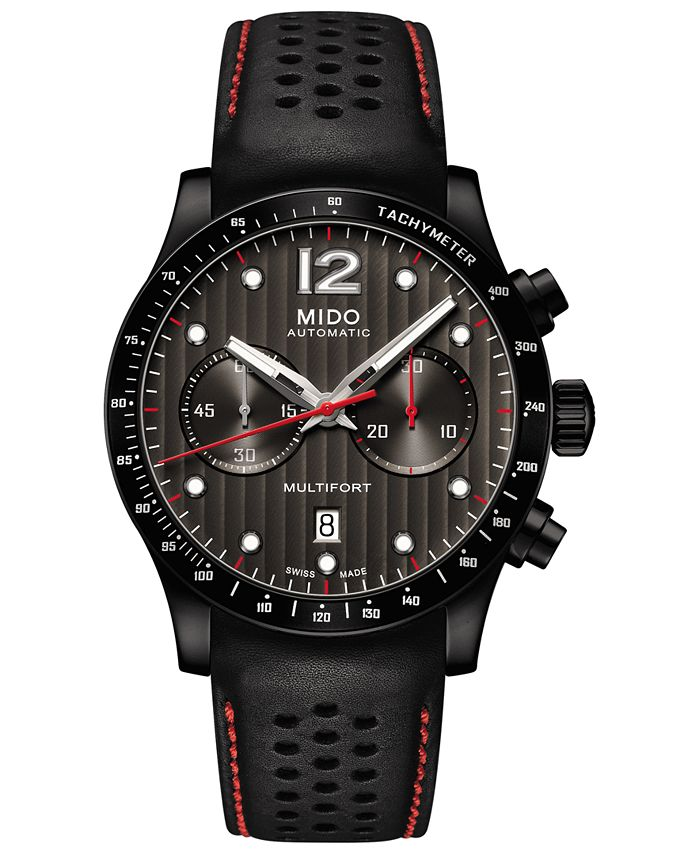 Mido - Men's Swiss Automatic Multifort Black Perforated Leather Strap Watch 44mm